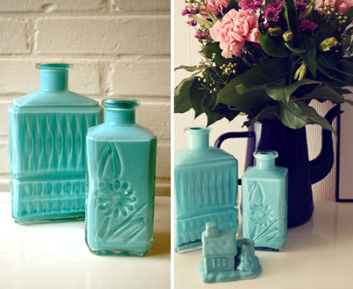 Diy painted bottles. Via- By Wilma
