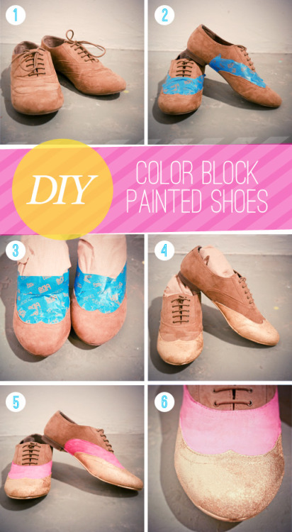 Diy color block shoes. Via- The Lovely Dept.
