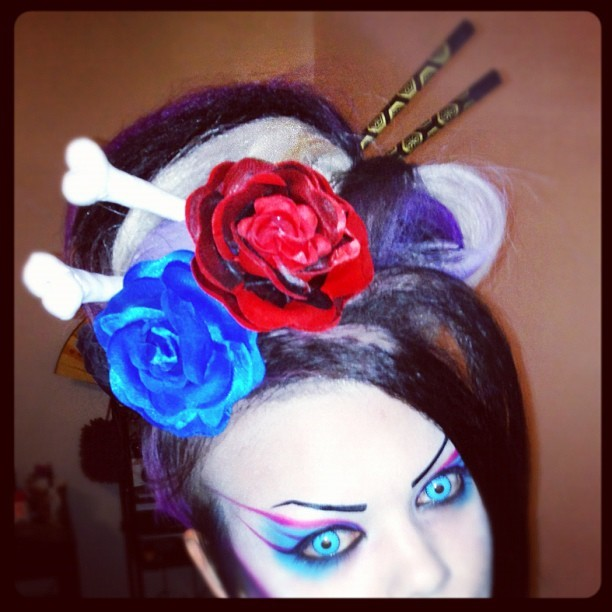 Epic #hair is epic. #roses #bones #geisha (Taken with instagram)