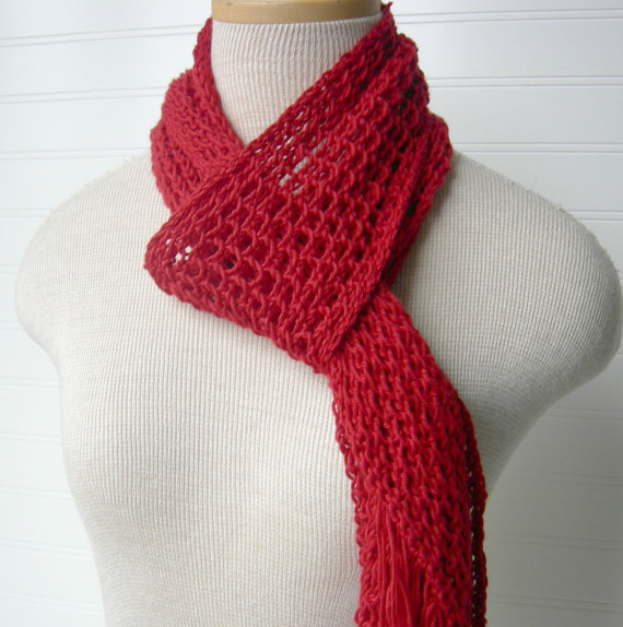 SALE Knit Lace Scarf in Scarlet Cherry Red by WindyCityKnits (via wanelo.com)