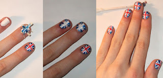 Diy Union Jack nails.  (For the extremely patient. lol)  Via- Quiet Lion Creations