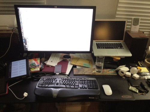 bigweek:  Marco Arment's Desk.  Nice try Marco! We all know you to just Merlin'd your desk to try and try and deny the reality that you exist in a pristine, Apple Store-like Fortress of Solitude made of ice.  Where are you in this picture? Where's some kind of proof this is even your desk, your office, or even your own house? The bizarre combo of Microsoft keyboard and Apple Magic Mouse does not prove anything to me.