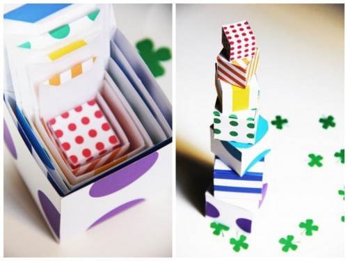 DIY Free Printable St. Patrick's Day Rainbow Boxes. Need a gift box in a hurry? These tiny colorful boxes are so easy to make. Tutorial (although they are so easy to fold up) and download at Studio DIY here.