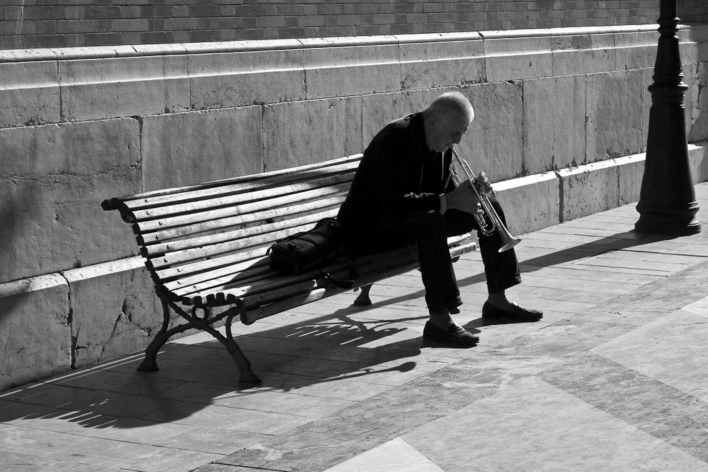 Trumpet player on bench, Malaga 2008