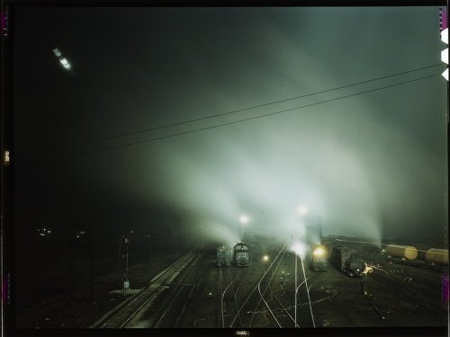 aubade:  Night view of the Sante Fe R. R. yard; Kansas City, Kansas. ca. 1940s.