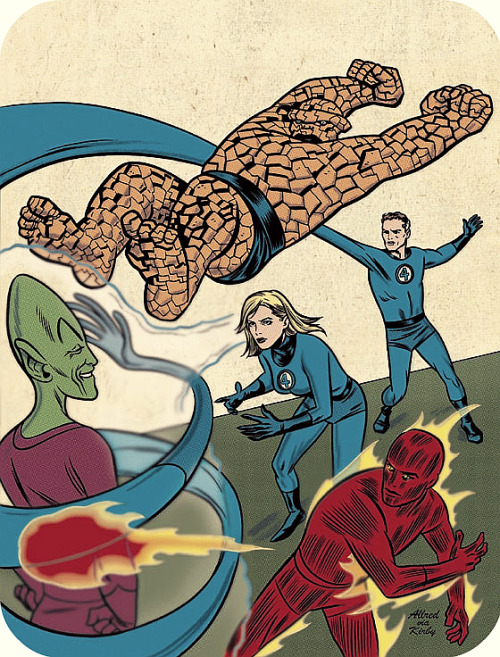 bigredrobot:  keaneoncomics:  The FF versus the Impossible Man, by Mike Allred (homaging Jack Kirby's cover for X-Men #1, 1963.)  Ginchiest.