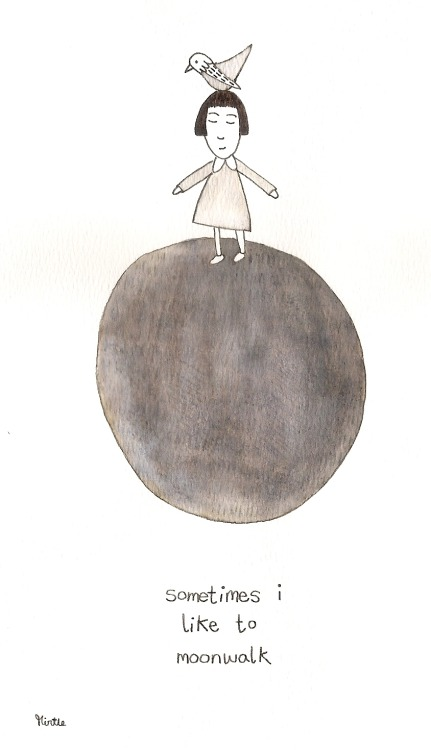 "hitrecord:  ""sometimes"" Illustration by mirtle == sometimes i like to moonwalk == Contribute your Tiny Story HERE!"