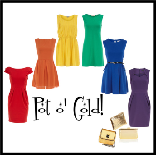 A rainbow of dresses, with a pot 'gold, for St. Patty's Day this weekend!