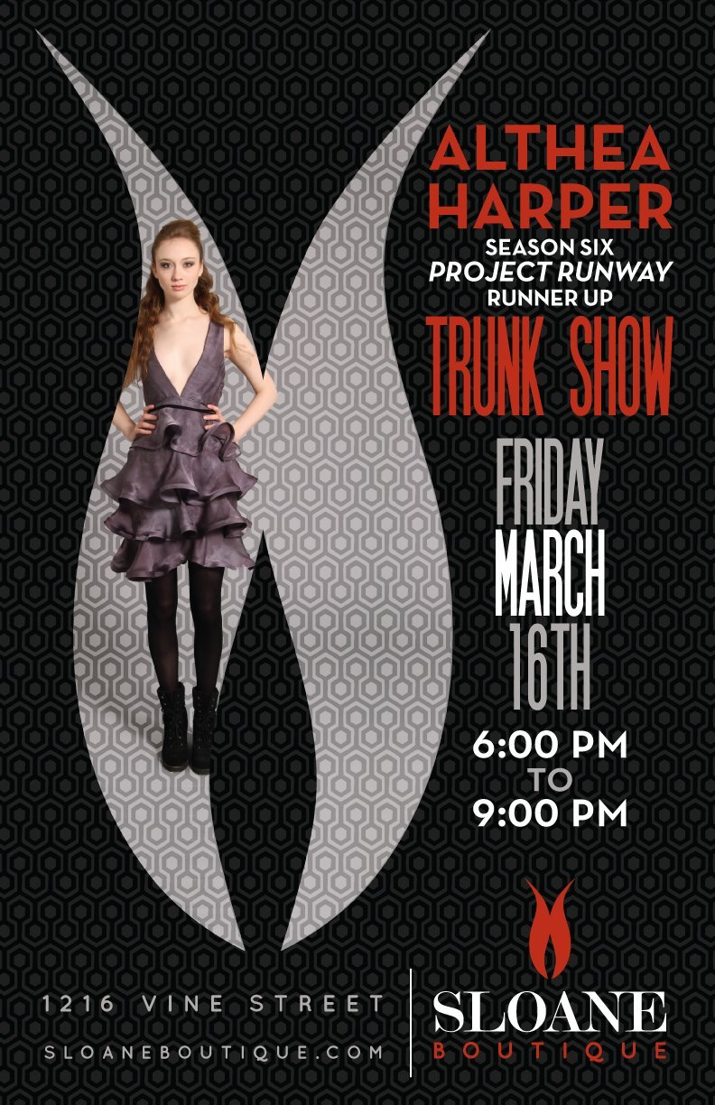Althea Harper Trunk Show tonight 6p-9p at Sloane Boutique. Althea Harper is the DAAP grad turned fashion designer turned Project Runway runner-up