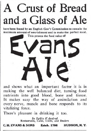 "questionableadvice:  ~ Evan's Ale, Cosmopolitan v.49, June - November, 1910 via Hathi Trust Digital Library""A Crust of Bread and a Glass of Ale have been found by an English Gov't Commission to contain the maximum amount of nourishment and to make the perfect meal."""
