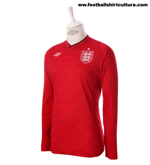 Focusing on the center of the flag, Umbro does it right going with all red for England's 2012 Keeper home kit.
