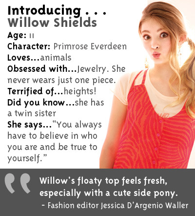 Get to know THG's sweetest silver screen li'l sis, Primrose Everdeen played by Willow Shields! Click here for more deets on this April/May 2012 GL cover girl.