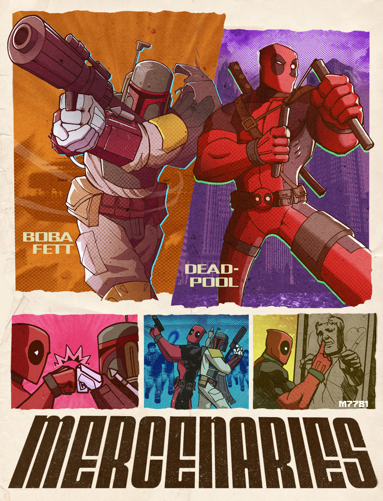 "kittyarena:  justinrampage:  When Deadpool and Boba Fett join forces, you can only expect non-stop action and humor. Hilarious Star Wars / Marvel Comics mash up by Marco D'Alfonso. Created for Comic Book Resources' ""The Line It Is Drawn #81"". Related Rampages: Deadpool: Get Rich Or Die Tryin'  (More) Deadpool & Boba Fett: Mercenaries by Marco D'Alfonso (dA) (Twitter)  oh my god, all my wildest dreams have come true  Mine too. x_x"