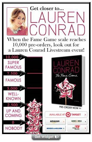 An update from Lauren Conrad on her pre-order campaign for her latest book (THE FAME GAME) and Livestream event! http://www.laurenconrad.com/post/the-fame-game-live-chat-update