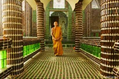 Thai monks from the Sisaket province have used over one million #recycled glass bottle to construct their Buddhist temple. #upcycle  Using Heineken bottles (green) and Chang Beer bottles (brown) the monks were able to clean up the local pollution and create a useful structure that will be a visual reminder to the scope of pollution and the potential we can make with limber minds.