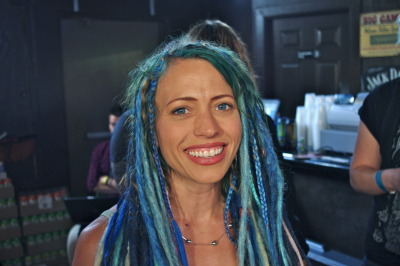 #SXSW Hair - As the mom of Nia and Rena from the all-girl group Cherri Bomb, she pulls off this bright blue hair with rockstar confidence.