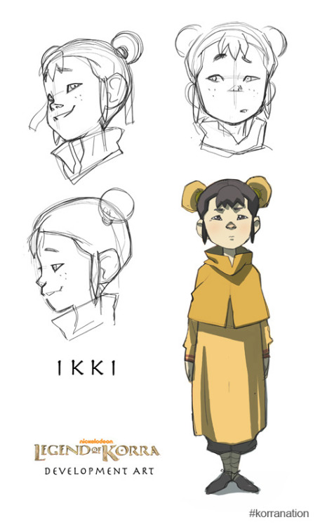 Early development artwork for Ikki, Tenzin's daughter and Aang's granddaughter.  An Airbender as well, Ikki is very hyper and inquisitive. 3/16/2012