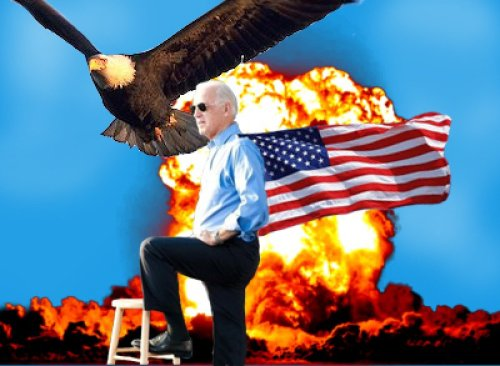 Joe Biden Badass Explosion Rock, flag, and eagle, and awesome explosion.
