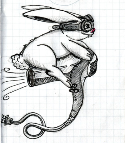 """Hare Dryer Flyer"" a random Friday doodle. March 16th, 2012 by Brandon Ortwein Should I make this into a t-shirt design?"