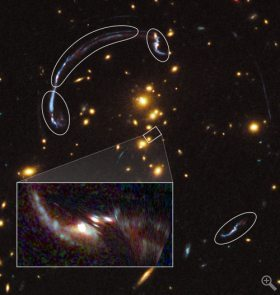 (via Gravitational lens reveals details of distant, ancient galaxy | UChicago News) I've been wondering when someone would start to do this. Cosmologists at UChicago have taken VLT data, Hubble Wide-Field 3 data, and some serious computer modeling and optics/relativity reverse-engineering to use a galaxy cluster's gravitational lensing effect as a telescope. The reconstructed galaxy at the lower-left is based on the relativistic warping created by the foreground galaxy cluster on the circled warped and repeated images of the galaxy itself, which is actually behind the cluster.