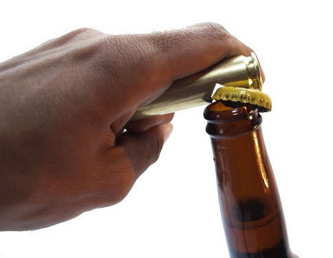 "Bullet Bottle Opener ""Short of opening a bottle with your teeth, we can't think of a more manly way to crack a cold one than with a demilitarized .50 caliber bullet casing…which is exactly what this is. Made in the good ole US of A out of military grade ammunition by Bullets2Bandages, this bottle opener is probably the only way most of us are ever going to handle a fist-sized .50 cal round, but we're ok with that."" via  who killed bambi?"