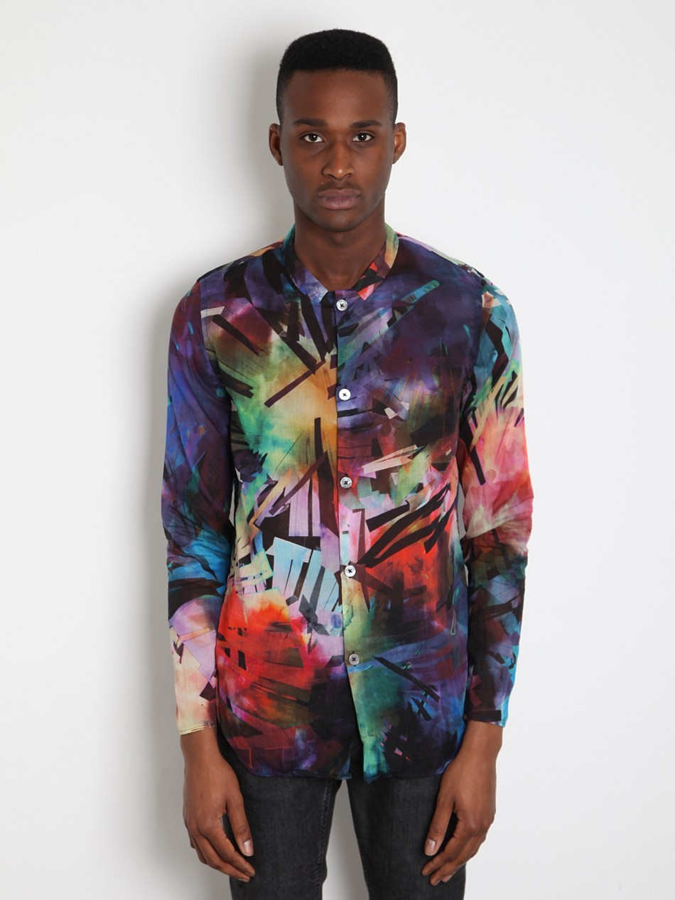 Paul Smith Men's Printed Drop Collar Shirt at oki-ni