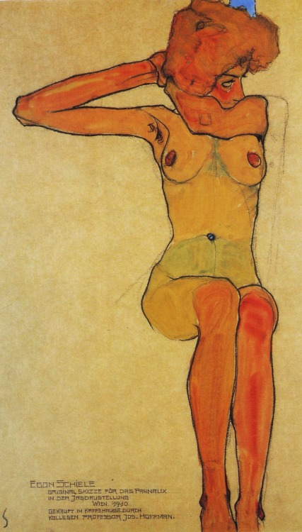 mosth:  Egon Schiele, Nude Woman Hair-Dressing, 1910