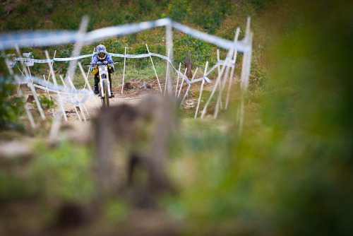 Matt Simmonds getting aero at the DH World Cup this weekend.