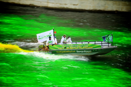 From Chicagoist: How is the Chicago River dyed green? Turns out it's actually an orange dye that plumbers used to detect leaks and discharges of sewage into the river. You can read more about the 51-year St. Paddy's Day tradition here. Credit: Monika Thorpe / Flickr
