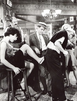 Shirley MacLaine, Jack Lemmon and director Billy Wilder on the set of Irma La Douce, 1963.