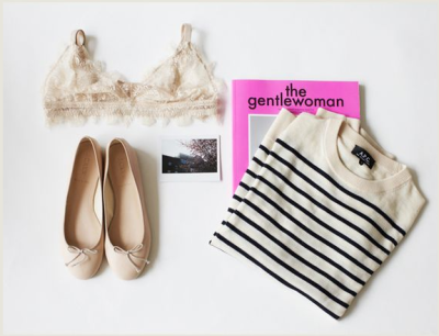 brigittew:  what-do-i-wear:  striped shirt is from A.P.C,  COS bra set, J.Crew baller flats, Gentlewoman and Paris Review's 200th Issue. (image: decadediary)  except for the flats. i hate flats.