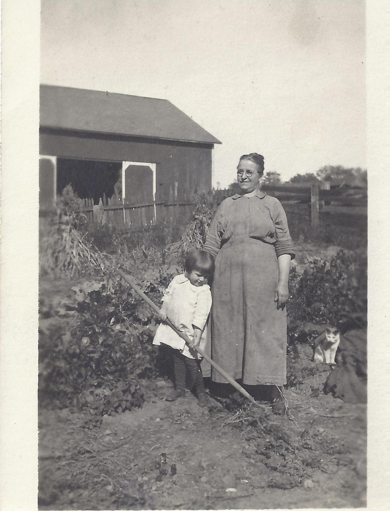 My grandma Eva and her grandma, Mary Bromley in front of the red barn that burned down, at Shady Nook. Mercer, Pennsylvania. 1919.