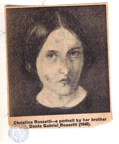 Clipped-out and pasted-in portrait of Christina Rossetti. From the front matter of Goblin Market, and Other Poems by Christina Rossetti, ills. Dante Gabriel Rossetti (1865). Original from Oxford University. Digitized September 26, 2006.