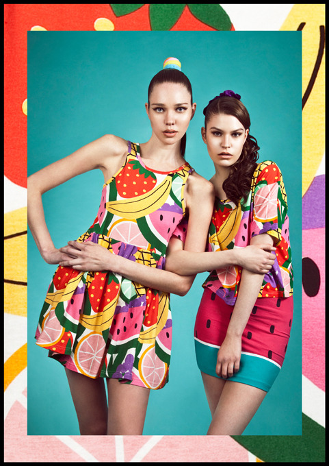 Gwan for Volt Cafe featuring Lazy Oaf S/S12 'Sister, Sister' Photography | Sophia Sabados Styling, Art Direction & Words | Lauren Brown Hair | Amber-Rose @ models1 using Tigi Hair Assistants | Conner West & Margarida Marinho Make Up | Jing Mao using MAC Special thanks to Paul @ Moreland Productions.  (Ann) Fruit cocktail vest dress, (Paula) Mixed fruit crop t-shirt and watermelon skirt all Lazy Oaf.