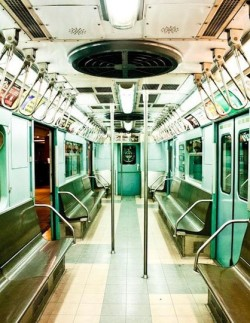 New York City Subway in Mint Green, Fine Art Photograph by Rebecca Plotnick