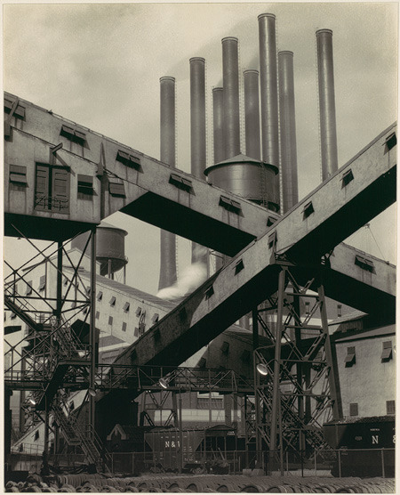 art-history:  Charles Sheeler Criss-Crossed Conveyors, River Rouge Plant, Ford Motor Company  1927 Gelatin silver print  9.25 x 7.375 in. Metropolitan Museum of Art, New York