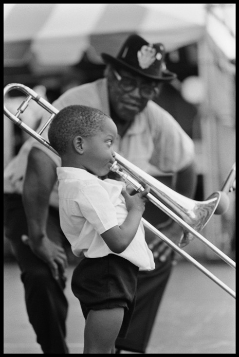 a young Trombone Shorty plays for blues guitar legend, Bo Diddley