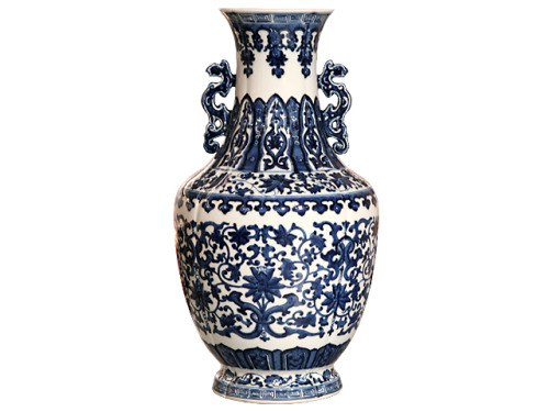 Bargains Day: Classic Blue Paint Vase, Pearl River, $95