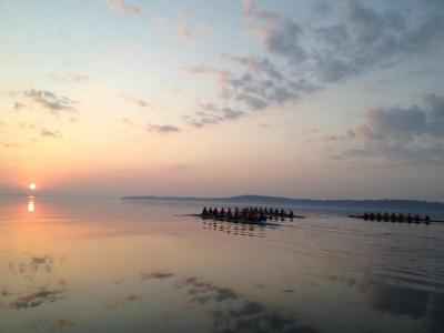 This morning's row was sooo beautiful!  I still can't believe we're out on the water well before spring break…last year the ice didn't melt until a week before our first regatta!
