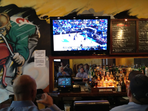 Watching the Hoyas at Iron Horse Tap Room, March Madness Woohoo!