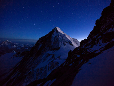 As seen from Lhotse, a team of climbers ascending Everest creates a spectacular line of light on the mountain ridge.  Today National Geographic announced its Spring 2012 Everest expedition with climbers Conrad Anker, Cory Richards, Hilaree O'Neill, Phil Henderson, Kris Erickson, Sam Elias, Emily Harrington, and more. Learn about the expeditionPhotograph by Cory Richards
