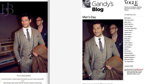 EXCITING NEWSmy photograph of David Gandy at LFW A/W 2012 has been featured on vogue.co.uk on the 'David Gandy's Blog' pageas you can tell, i'm very excited about this and flattered and I just thought I should share this with you all ! http://www.vogue.co.uk/blogs/david-gandy