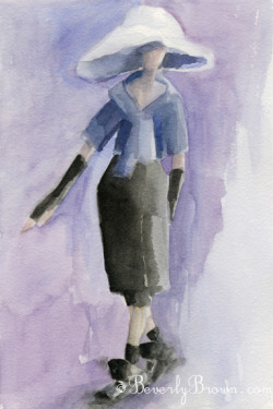 An impressionist style watercolor fashion illustration from the Marc Jacobs Fall 2012 collection at New York Fashion Week.