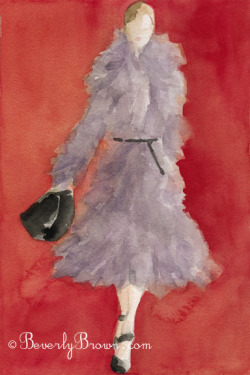 A watercolor fashion illustration featuring a grey coat with a fabulous feathery texture,  set off against a tomato red background, from the Michael Kors Fall 2012 collection at New York Fashion Week.