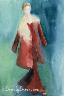 In this watercolor fashion illustration I painted with very saturated wet-on-wet colors to create a dreamy, romantic mood.  The beautiful coat and dress is from the Michael Kors Fall 2012 collection at New York Fashion Week.