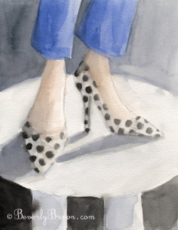 A watercolor fashion illustration of a whimsical pair of polka dot shoes from the Kate Spade Fall 2012 collection at New York Fashion Week.