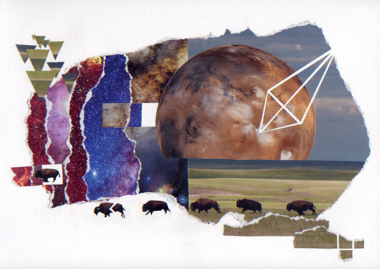 art collage universe astronomy galaxy austin long artist improbability hitchhiker's guide to the galaxy surrealism surreal