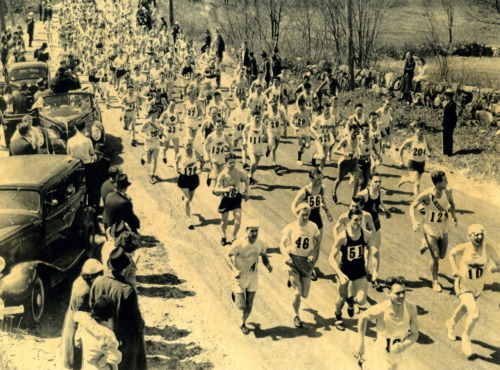 This photograph captures almost the entire field of runners in the 1938 Boston Marathon. Hopkinton, MA.