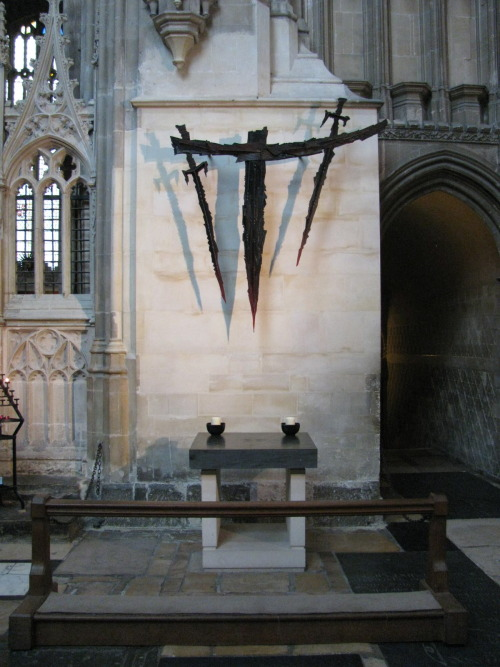mediumaevum:  The most popular shrine in England was the tomb of Thomas Becket at Canterbury Cathedral. When Becket was murdered local people managed to obtain pieces of cloth soaked in his blood. Rumours soon spread that, when touched by this cloth, people were cured of blindness/epilepsy and leprosy. It was not long before the monks at Canterbury Cathedral were selling small glass bottles of Becket's blood to visiting pilgrims. image: Altar marking the spot of Thomas Becket's martyrdom, Canterbury Cathedral.