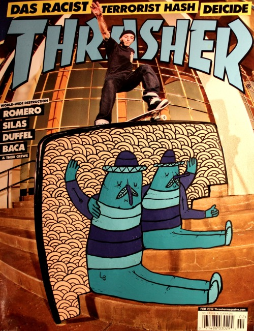 "lucasbeaufort:   Thrasher (us) X LB Acrylic paint on coverPeter Ramondetta ""switch smith"""